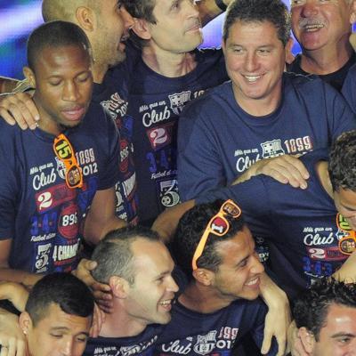 26MAYO2012 Celebración en el Camp Nou, con los cuatro títulos de la temporada. Foto: Agencia.